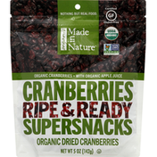 Made in Nature Dried Cranberries, Organic, Supersnacks, Ripe & Ready