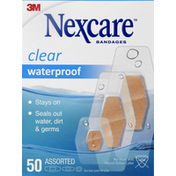 Nexcare Bandages, Clear, Waterproof, Assorted