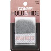 Conair Hair Nets, Hold & Hide, Dark