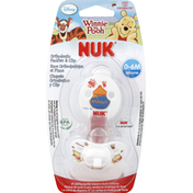 NUK Pacifier & Clip, Orthodontic, Silicone, Disney Winnie the Pooh, 0-6 M
