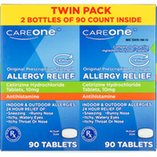 CareOne Allergy Relief, Original Prescription Strength, 10 mg, Tablets, 24 Hour, Twin Pack