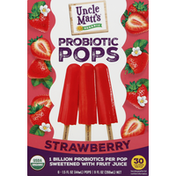 Uncle Matts Probiotic Pops, Organic, Strawberry