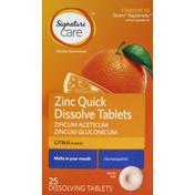 Signature Care Zinc, Quick Dissolve Tablets, Citrus Flavor