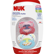 NUK Pacifiers, Orthodontic, Natural Shape, Silicone, 6-18M