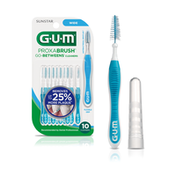 GUM The dentist-recommended Wide interdental cleaner has an easy-grip handle, triangular antibacterial bristles, and bendable neck. Great for cleaning around teeth, bridges, crowns and implants.