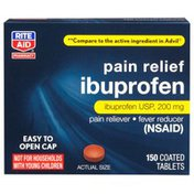 Rite Aid Pharmacy Ibuprofen, 200 mg, Coated Brown Tablets, 150 tablets