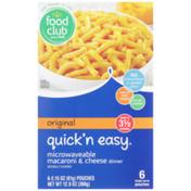 Food Club Quick'N Easy, Original Microwaveable Macaroni & Cheese Dinner