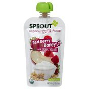 Sprouts Puree, Red Berry with Greek Yogart, Organic, Toddler & Up, Pouch