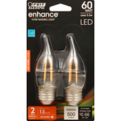 Feit Electric Light Bulbs, LED, Flame Tip, Soft White, Clear, 5.5 Watts