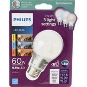 Philips Light Bulb, LED, Warm/Daylight/Soft White, 9.5 Watts