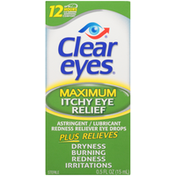 Clear Eyes Maximum Itchy Eye Relief Astringent/Lubricant/Redness Reliever Eye Drops