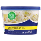 Food Club Zesty Lemon Flavored Ice Cream Swirled With Graham Crunch And Lemon Flavored Flakes