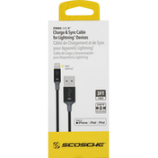 Scosche Charge & Sync Cable, for Lightning Devices, 3 Feet