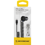 Scosche Car Charger, for USB-C Devices, 1-3 Feet