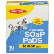 Valu Time Steel Wool Soap Pads, Lemon Scent