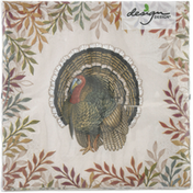 Design Design Luncheon Napkins, Foliage and Feathers, 3-Ply
