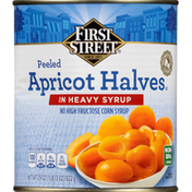 First Street Apricot Halves in Heavy Syrup, Peeled