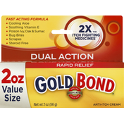 Gold Bond Anti-Itch Cream, Rapid Relief, Dual Action, 2 Ounce Value Size