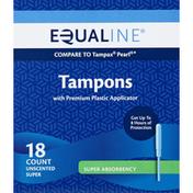 Equaline Tampons, Premium Plastic Applicator, Super Absorbency, Unscented