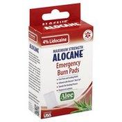 Alocane Emergency Burn Pads, Maximum Strength, 4% Lidocaine, Aloe Brazilian