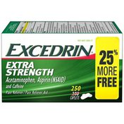 Excedrin Extra Strength Caplets for Headache Pain Relief, 250 count