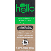 hello Toothpaste, Activated Charcoal + Hemp Seed Oil, Fluoride Free, Epic Whitening