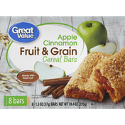 Great Value Cereal Bars, Fruit & Grain, Apple Cinnamon