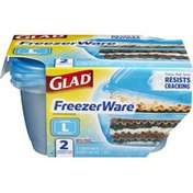 Glad Freezer Ware Containers & Lids Large Rectangle - 2 CT