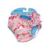 i play Girls Ruffle Snap Reusable Absorbent Swimsuit Diaper - 12 Months