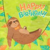 Unique Napkins, HBD Sloth Party, 2 Ply