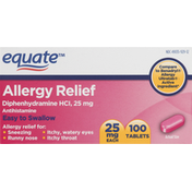 Equate Allergy Relief, 25 mg, Tablets