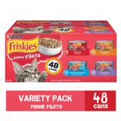 Purina Friskies Wet Cat Food Variety Pack, Prime Filets Beef, Chicken, Ocean Whitefish & Turkey