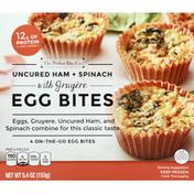 Perfect Bite Egg Bites, with Gruyere, Uncured Ham + Spinach