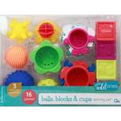 Infantino Activity Set, Balls, Blocks & Cups, 16 Pieces