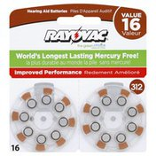 Rayovac Batteries, Hearing Aid, Size 312, Value Pack