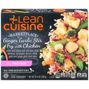 LEAN CUISINE White meat chicken with snap peas, water chestnuts, red peppers, broccoli, whole grain rice & ginger garlic carrot sauce. Ginger Garlic Stir Fry with Chicken