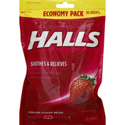 Halls Cough Suppressant/Oral Anesthetic, Menthol, Strawberry Flavor, Economy Pack