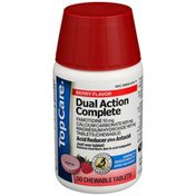 TopCare Dual Action Complete Famotidine 10 Mg, Calcium Carbonate 800 Mg Magnesium Hydroxide 165 Mg Tablets (Chewable) Acid Reducer + Antacid, Berry Flavor