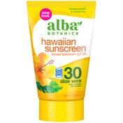 Alba Botanica Aloe Vera Broad Spectrum SPF 30 Hawaiian Sunscreen Lotion