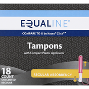 Equaline Tampons, Compact Plastic Applicator, Regular Absorbency, Unscented