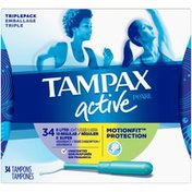 Tampax Pearl Active Tampons Plastic Triple Pack Light/Regular/Super