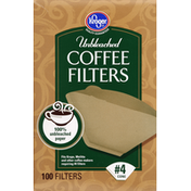 Kroger Coffee Filters, Unbleached, No. 4 Cone