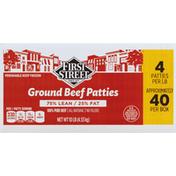First Street Ground Beef Patties, 75%/25%