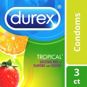 Durex® Condom Tropical Natural Latex Condoms, An exciting mix of flavors and colors