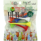 Hi Ball Golf Tees, Extra Wide, 3.5 Inch, 6 Pack