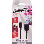 Energizer Cable, Lightning, Braided Cord, 3 Feet