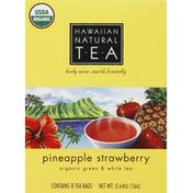 Hawaiian Natural Tea Green & White Tea, Organic, Pineapple Strawberry, Tea Bags
