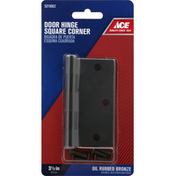 Ace Door Hinges, Square Corners, Oil Rubbed Bronze, 3-1/2 Inches
