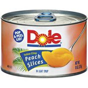 Dole Canned Fruit Yellow Cling In Light Syrup Peach Slices