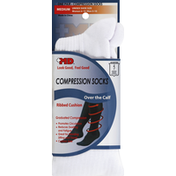 Md Socks, Compression, Over the Calf, Medium, White